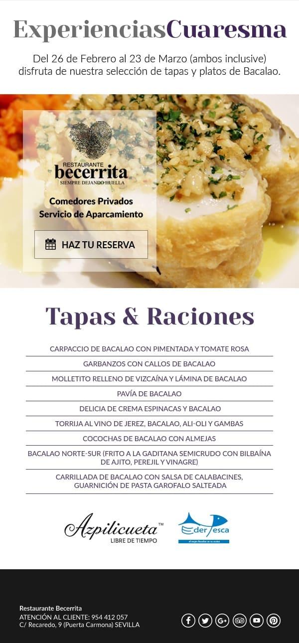 Experiencias de Cuaresma 2018 en Restaurante Becerrita, Sevilla