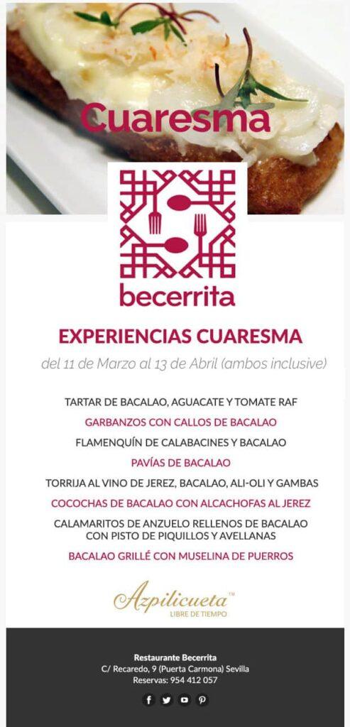 Experiencias de Cuaresma 2019 en Restaurante Becerrita, Sevilla