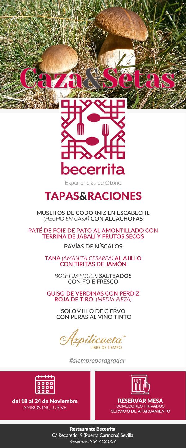 Semana de la Caza y las Setas 2019. Restaurante Becerrita, Sevilla