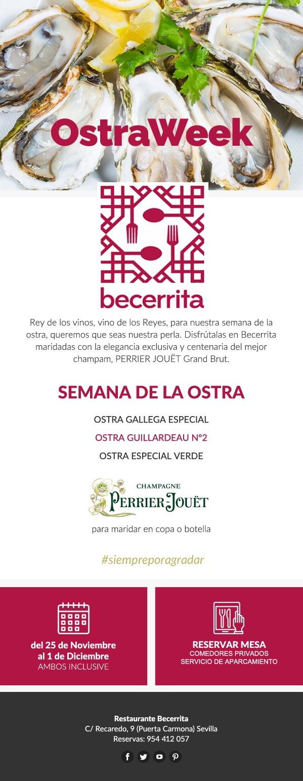 Semana de la Ostra en Restaurante Becerrita. Ostraweek 2019