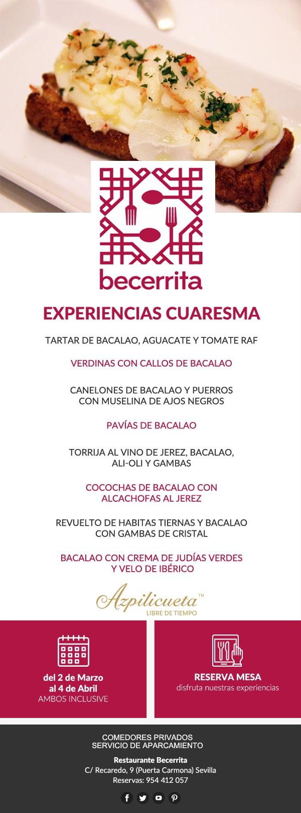 Experiencias de Cuaresma 2020 en Restaurante Becerrita, Sevilla