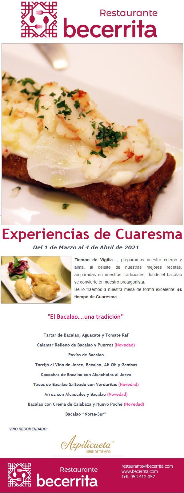 Experiencias de Cuaresma 2021 en Restaurante Becerrita, Sevilla